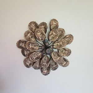 Decorative Rustic Finish Metal Flower Wall Decor
